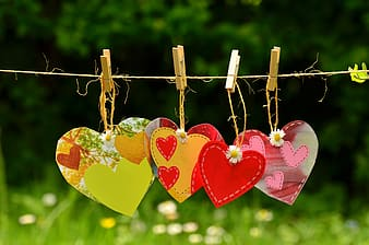 Assorted-color heart floral hanging decors
