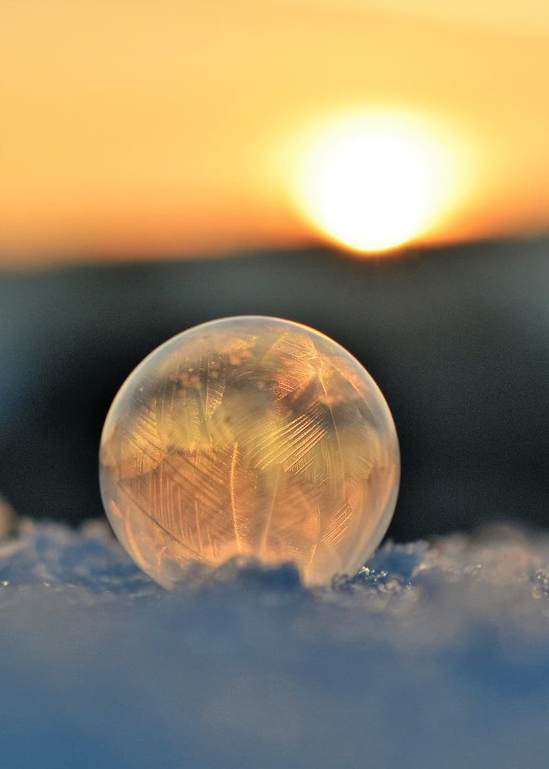 Close-up photo of glass ball during golden hour