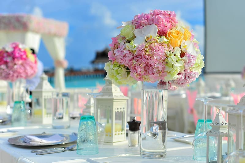 Assorted-color flowers table decor