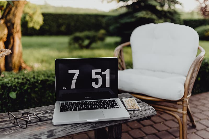 Outdoor office with laptop