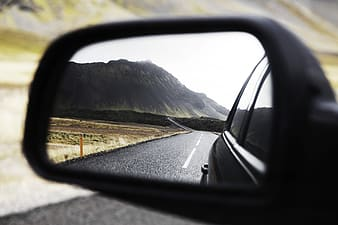 Photography of black side mirror