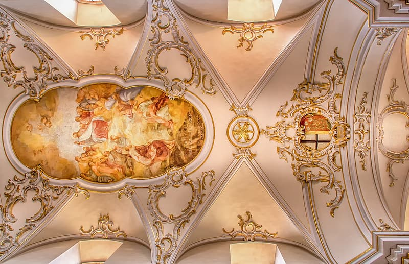 Church ceiling with painting
