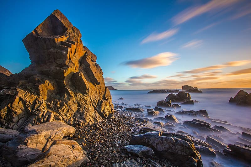 Timelapse photography of brown rock formation