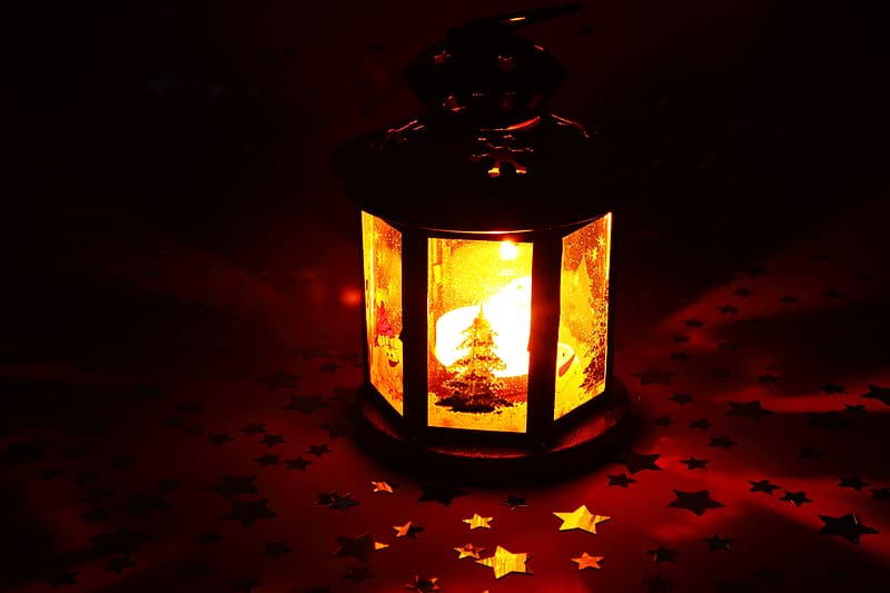 Lighted projection candle lantern