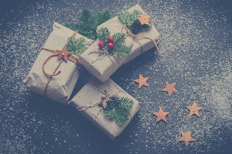Four brown Christmas gifts