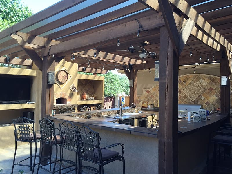 Brown and gray wooden gazebo