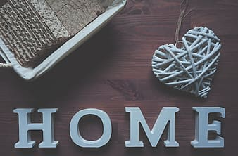 Flatlay photography of white home wooden freestanding letters