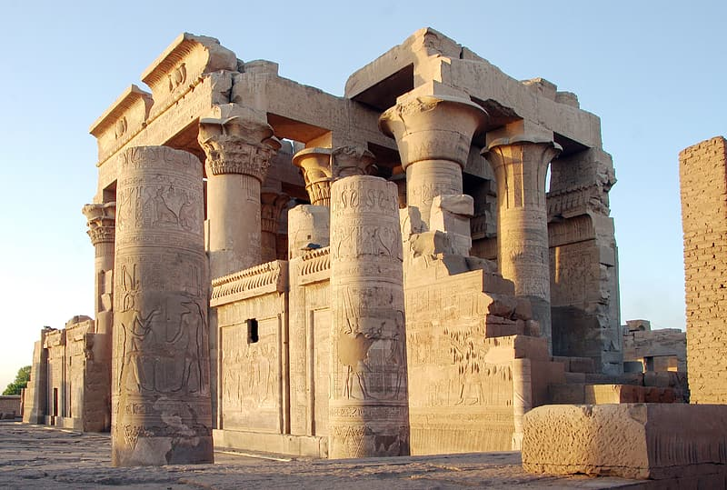 Low angle photography of Egyptian concrete column