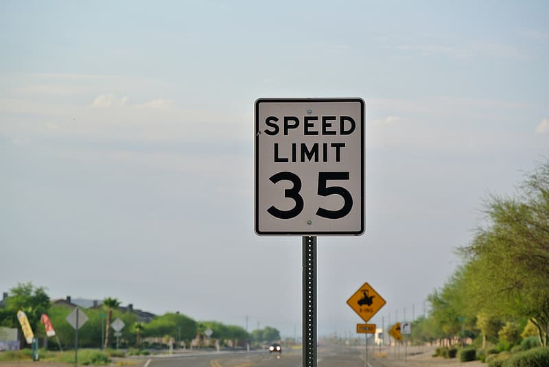 Speed limited 35 road sign