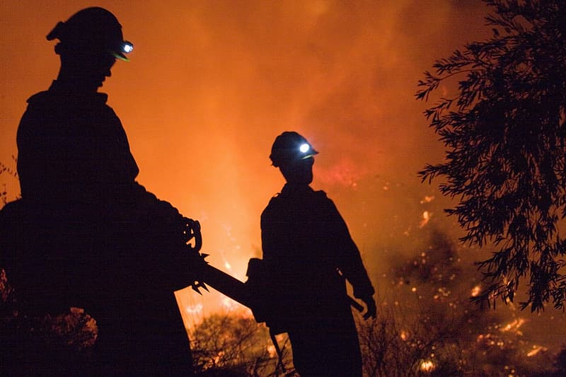 Silhouette photo of two firefighters during forest fire
