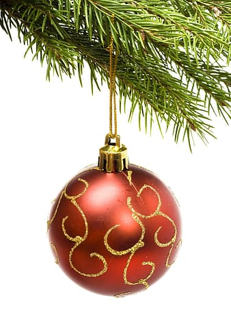 Red and gold bauble on white background