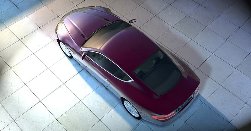 Parked maroon car on white tile
