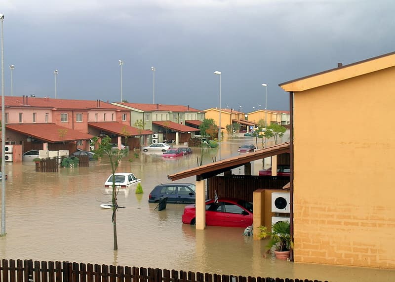 Town covered with flood