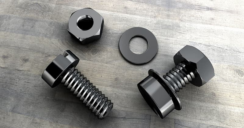 Two black metal nut, bolts, and washer