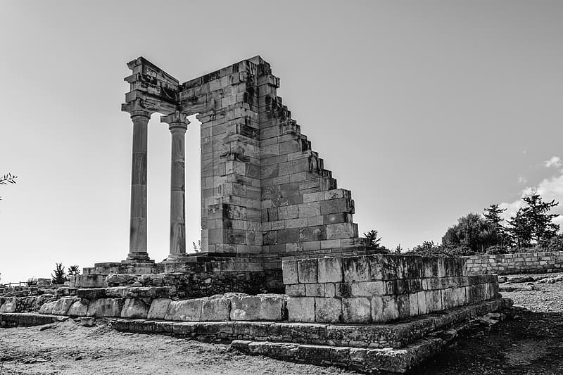 Grayscale photography of building ruins
