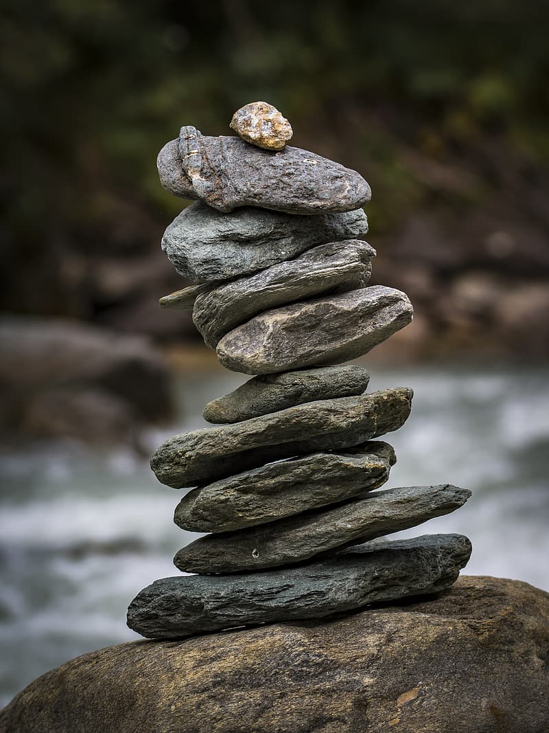 Gray and black stone stack