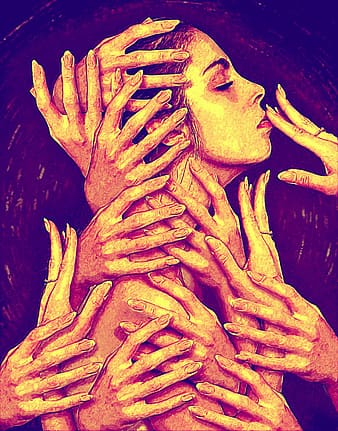 Woman surrounded with hands painting