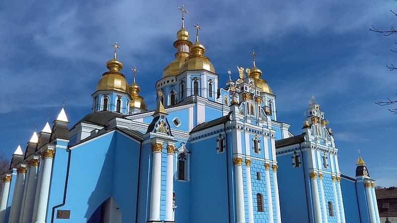 Blue and brown dome church