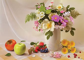 Flowers in white vase and fruits still life painting