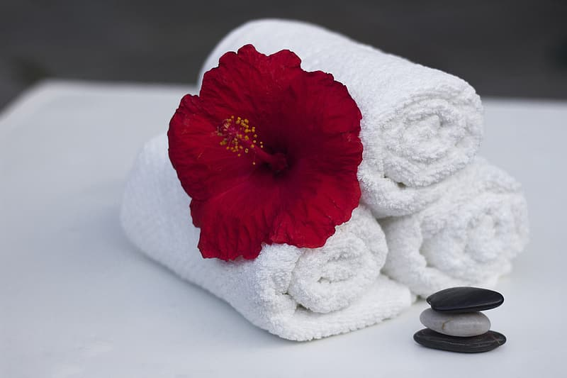White bathroom towel with red hibicus