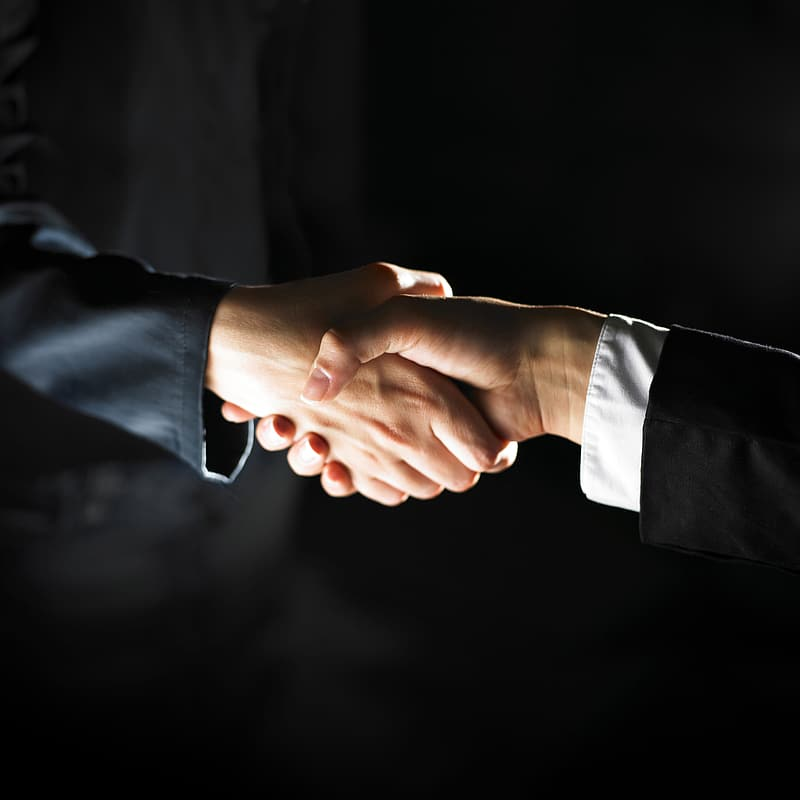 Person in black suit holding hands