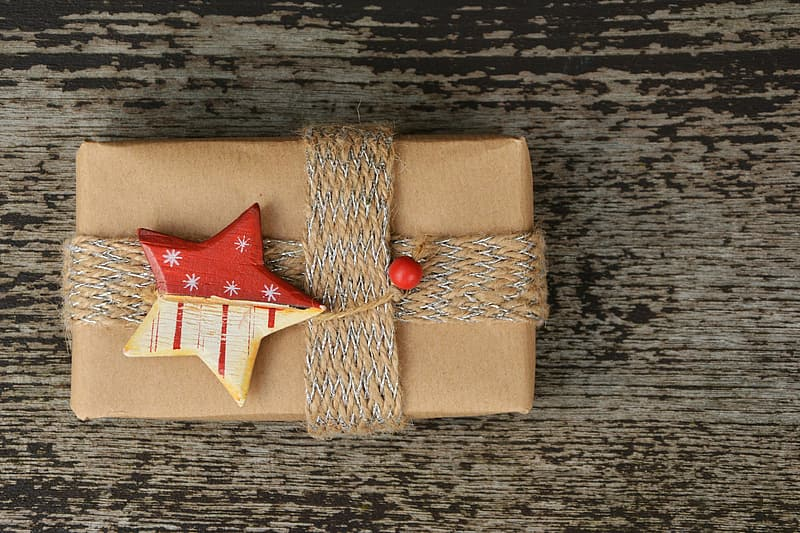 Wrapped present with star accent bow