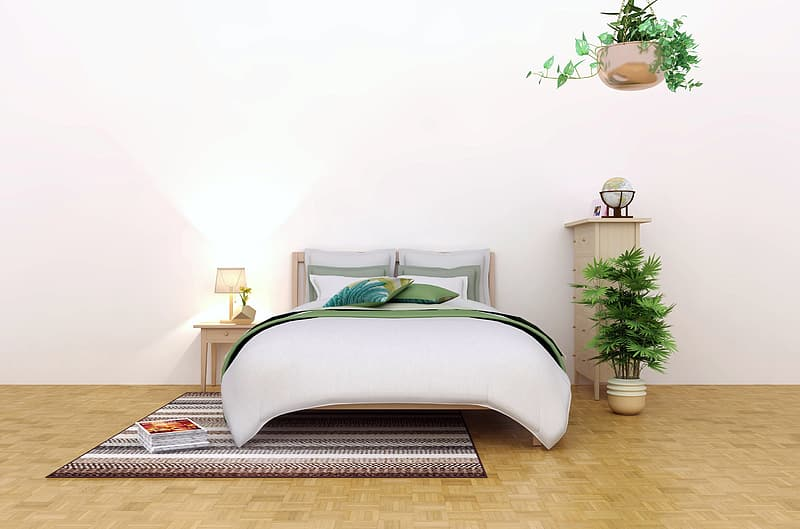White bed with white bed pillow