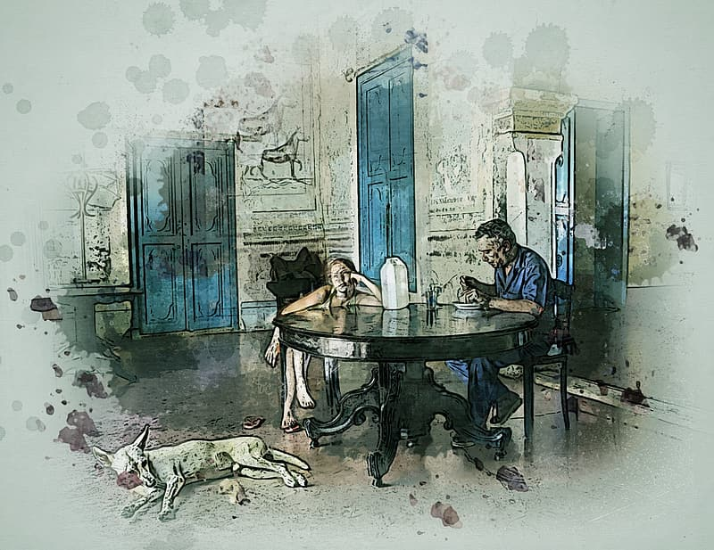 Man and woman sitting on chair beside black table inside house