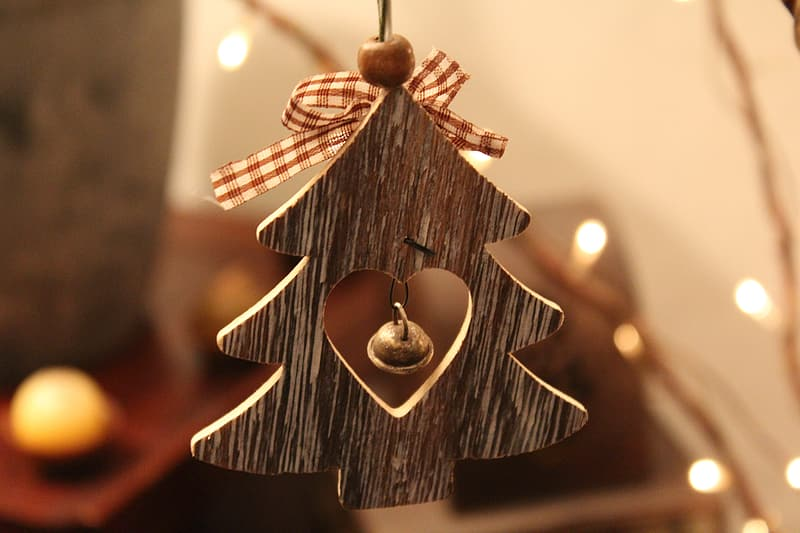 Brown wooden christmas tree cutout hanging ornament
