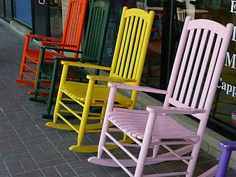 Assorted-color wooden rocking chairs
