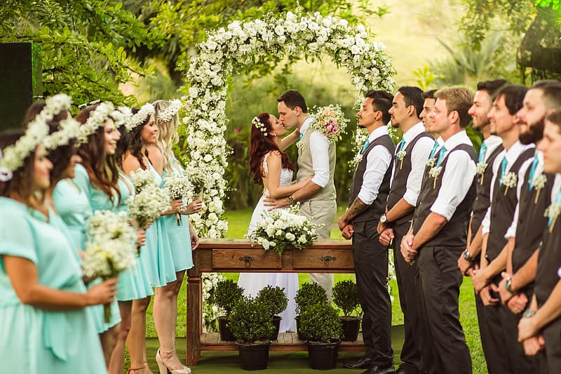 Woman and man kissing in front of bridesmaid and groomsmen wedding ceremony