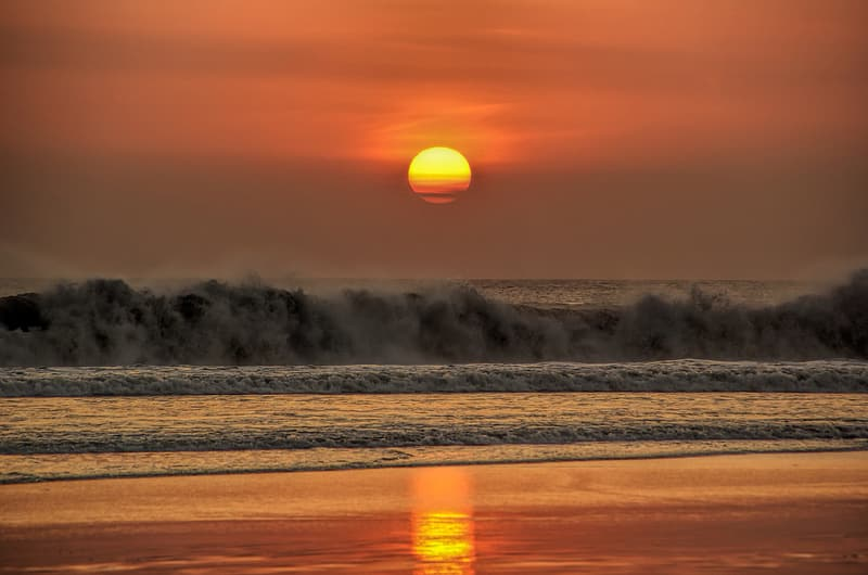 Wave of sea during sunset