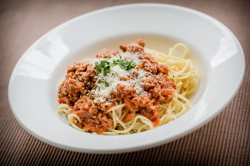 Pasta with red saucer