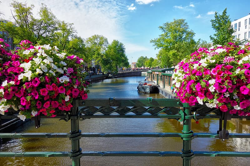 Two bouquets of flowers on top of bridge railings