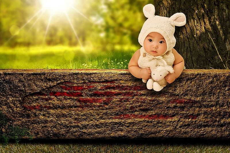 Baby holding plush toy on wooden board