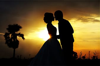 Silhouette of couple during golden hour