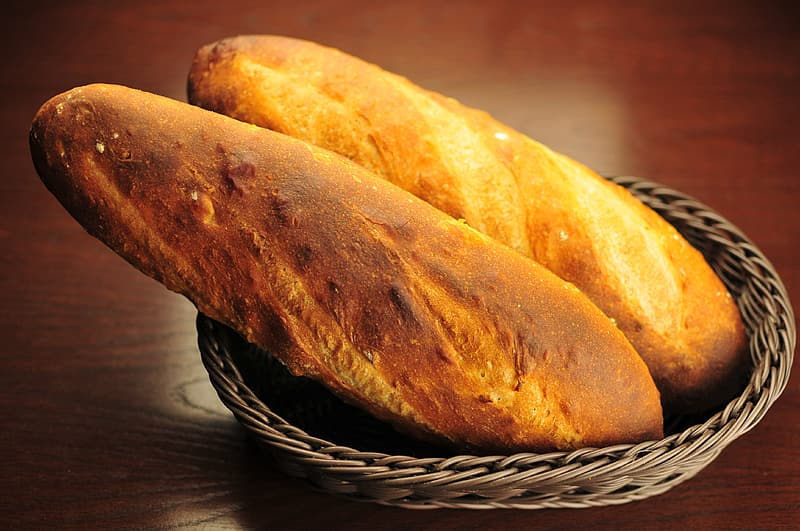 Two narrow breads in basket
