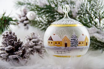 Gold and white christmas village bauble