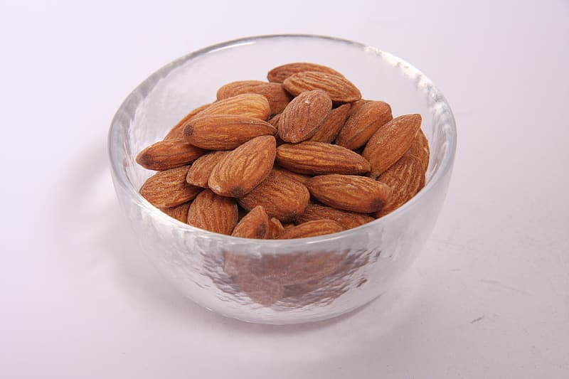Almond lot in glass bowl