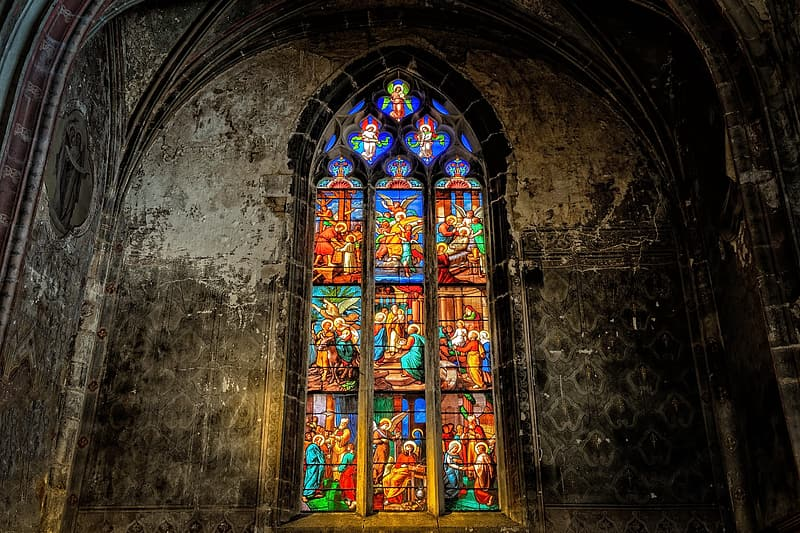 Blue yellow and red glass cathedral
