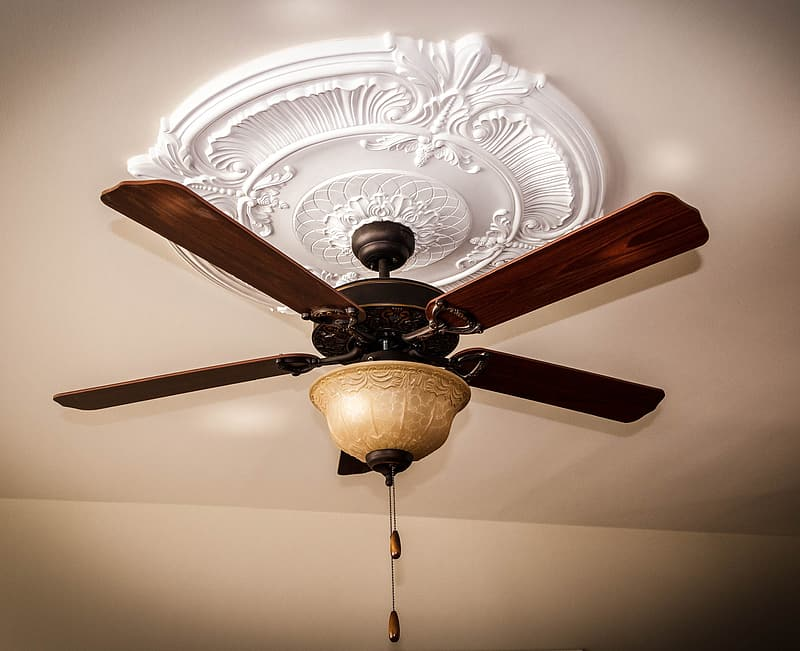 Brown wooden 5 blade ceiling fan with light fixture