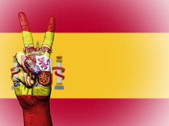 Red and yellow flag with peace handsign