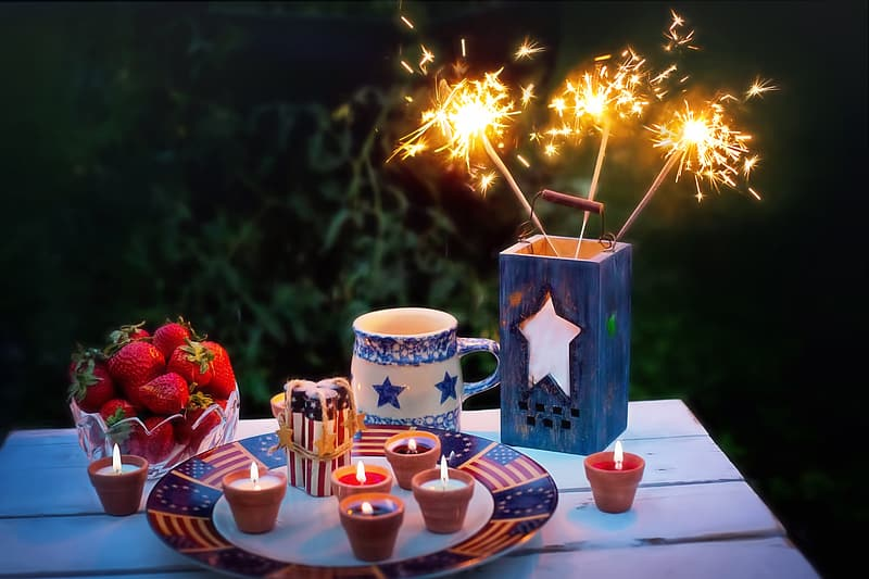 Still-life photography of candles and fire crackers