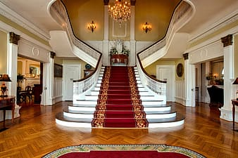 Staircase inside white painted room