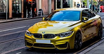 Yellow BMW coupe