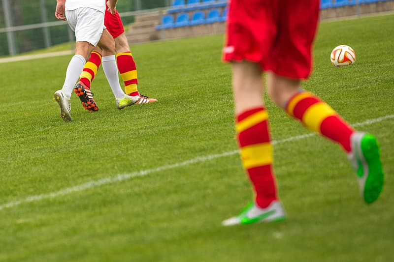 Pair of red-and-yellow soccer socks