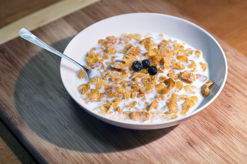 Cereals with milk in white bowl