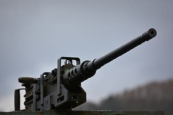 Black rifle in close-up photography