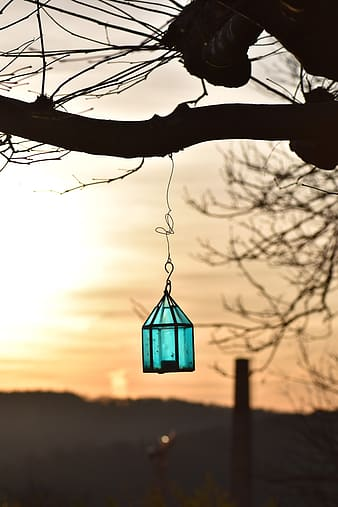 Silhouette of a hanging lamp during sunset