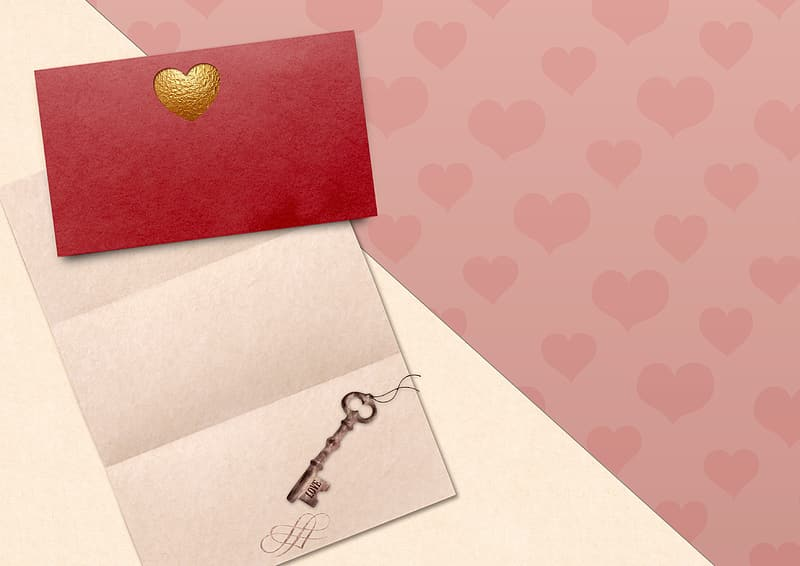 Red and white heart print card